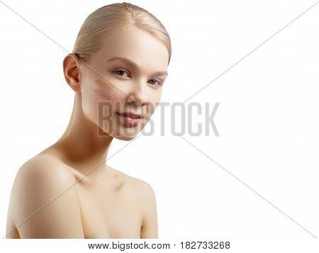 Woman Beauty Face Portrait With Healthy Skin. Beauty Woman Face Portrait. Beautiful Spa Model Girl W