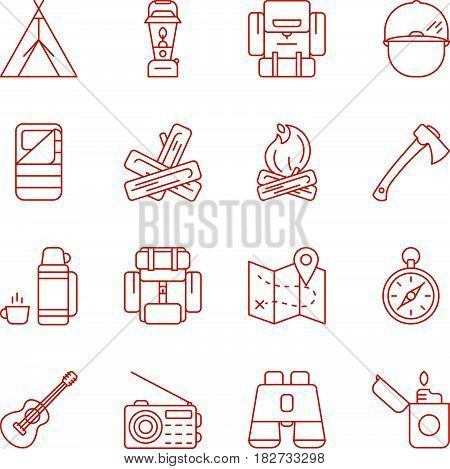 Vector illustration set of camping and outdoors icons. Tent campfire guitar lantern map compass binoculars and other icons. Icons isolated on a white background and easy to use.