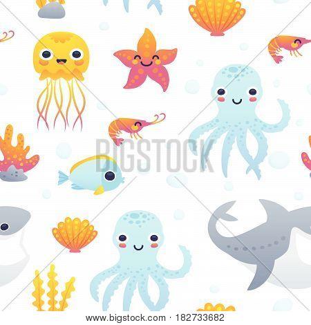 Vector illustration of funny cartoon jellyfish starfish octopus shrimp shark and fish. Seamless pattern with sea animals.