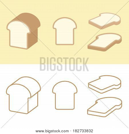 Loaf of bread and piece of bread for bakery icon or logo, flat and outline