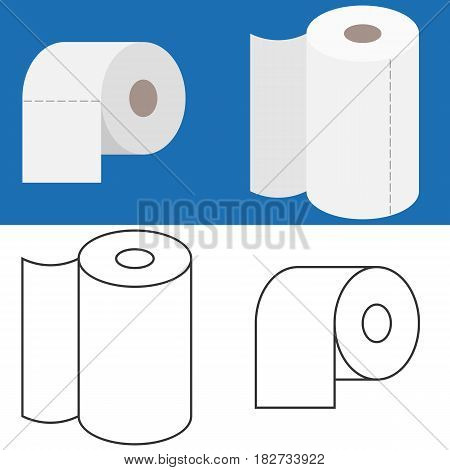 Set of tissue roll in flat design and outline icon