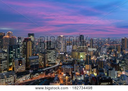 Osaka downtown city skyline at the landmark Umeda District in Osaka Japan.