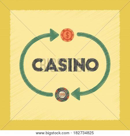 flat shading style icon poker casino chips