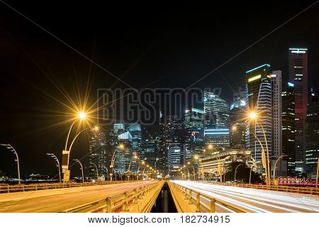 Singapore city Marina bay Finance and Trade Zone of the modern city night background