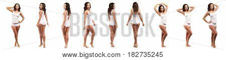 Health And Beauty Concept - Beautiful Brunette Woman In White Cotton Underwear Collage