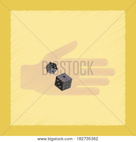 flat shading style icon poker dices in hand
