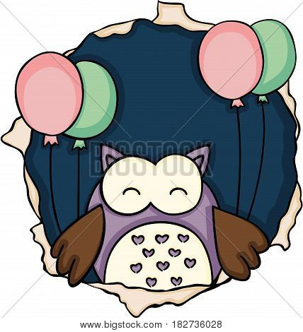 Scalable vectorial image representing a cute owl with balloons on the hole, isolated on white.