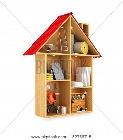 concept of the construction. Building materials and tools in a Doll house. 3D illustration
