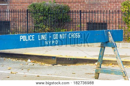 Police blue line barrier in New York