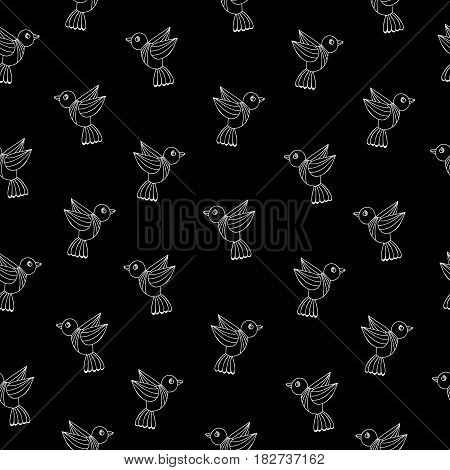 Simply seamless pattern with white line birds on the black background. Vector dark background with isolated bird for printing on fabric paper for scrapbook gift wrap.