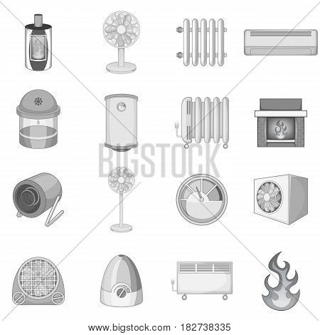 Heating cooling icons set in monochrome style isolated vector illustration
