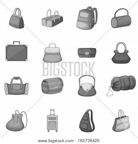 Different bagage icons set in monochrome style isolated vector illustration