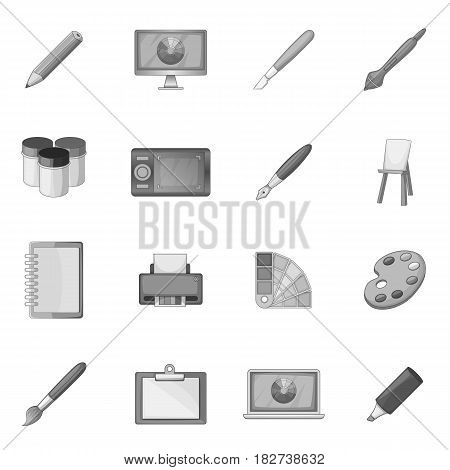 Drawing and painting tools icons set in monochrome style isolated vector illustration