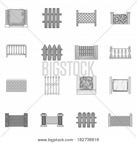 Fencing modules icons set in monochrome style isolated vector illustration