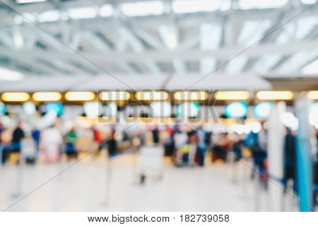 Blurred Crowed Passenger In Airport Waiting For Check In