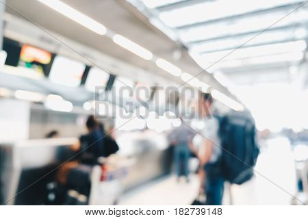 Business People Motion Blurred Focus In Airport