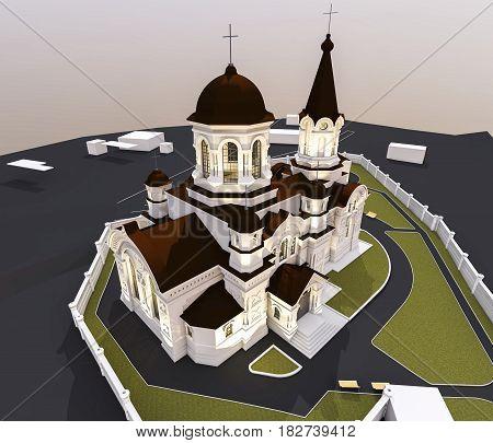 3d ilustration of beautiful orthodox church, bottom view