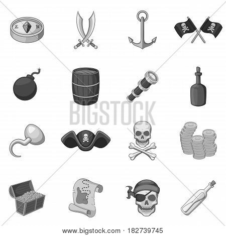 Pirate culture symbols icons set in monochrome style isolated vector illustration