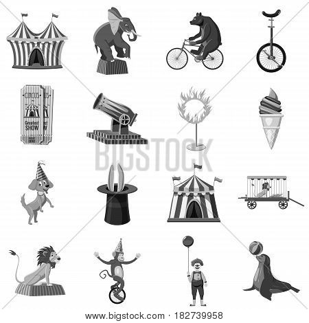 Circus symbols icons set in monochrome style isolated vector illustration
