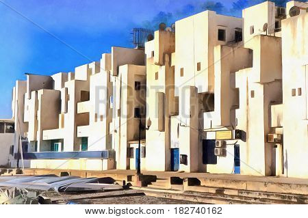 Town building colorful painting, Sidi Fredj, Algiers Province, Algeria