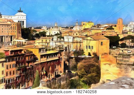 Colorful painting of view on Capitolium from Palatine Hill, Rome, Italy