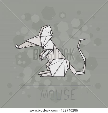 Vector simple illustration paper origami of mouse.