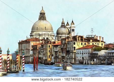 Colorful painting of Dome of church Santa Maria della Salute, Venice, Veneto, Itlaly