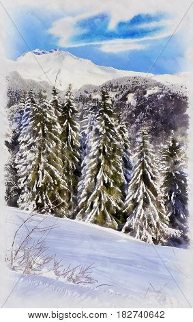 Beautiful winter landscape with snowy trees colorful painting