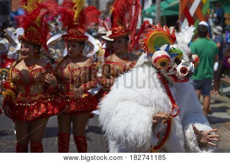 ARICA, CHILE - FEBRUARY 10, 2017: Morenada Dance Group performing during a street parade at the annual Carnaval Andino con la Fuerza del Sol in Arica, Chile.