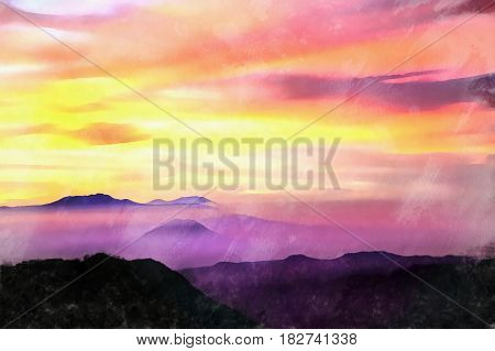 Beautiful sunset view colorful painting, Java, Indonesia