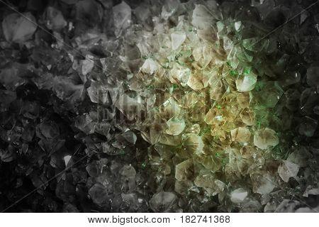 Crystal Stone macro mineral rough amethyst quartz crystals selective focus