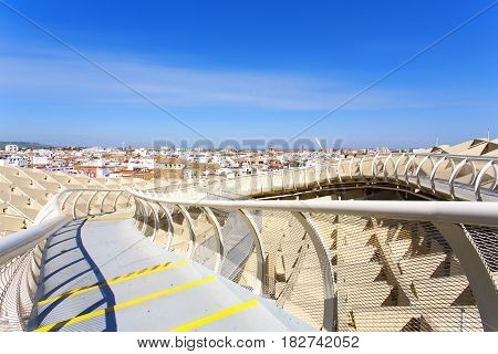 From the top of the Space Metropol Parasol Setas de Sevilla one have the best view of the city of Seville Andalusia Spain