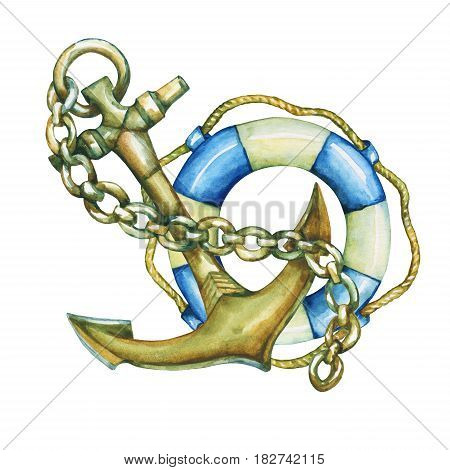 Composition with  lifebuoy and anchor. Hand drawn watercolor painting on white background.