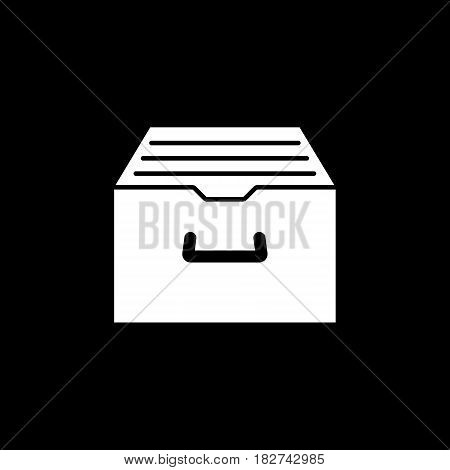 Archive storage solid icon, seo and development, file storage sign, a filled pattern on a black background, eps 10.