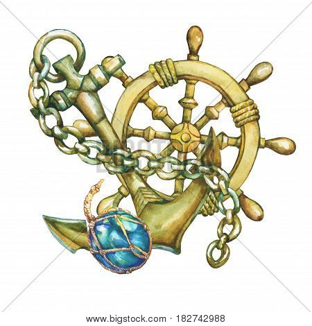 Composition with  steering wheel and anchor. Hand drawn watercolor painting on white background.