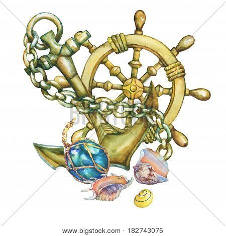 Composition with  steering wheel,  shell and anchor. Hand drawn watercolor painting on white background.