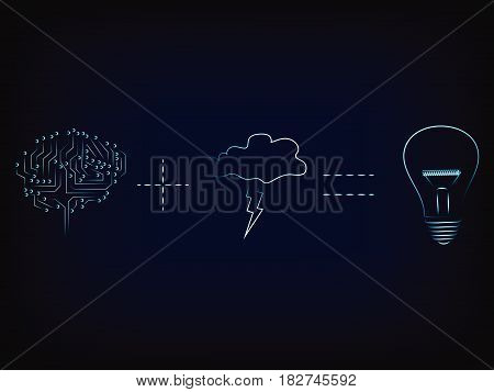 Brain Plus Storm Equals Lightbulb, Brainstorm Vector