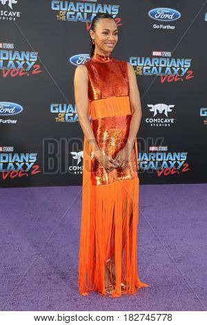 LOS ANGELES - APR 19:  Zoe Saldana at the