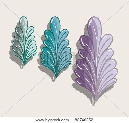nice different plants decoration botany, vector illustration
