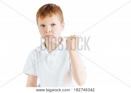 Little Boy Stand On White Background And Show His Emotions