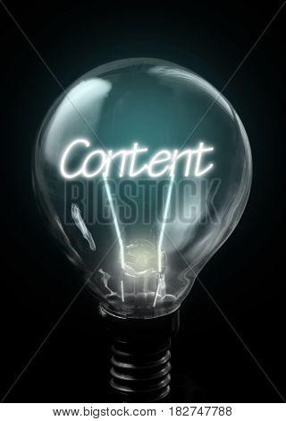 Content lit up inside a light bulb