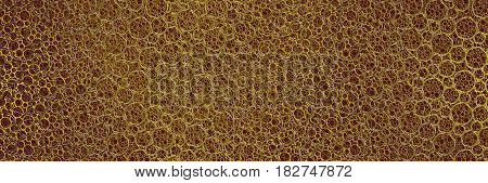 abstract slender metallic golden circular net background