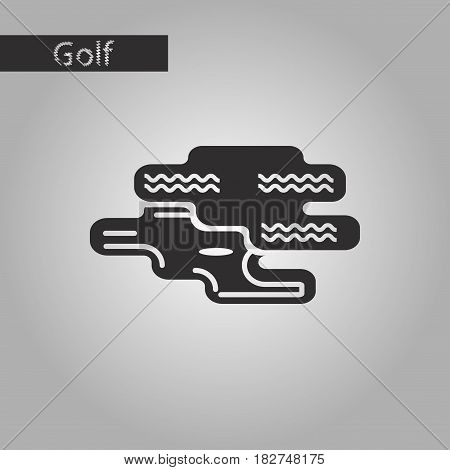 black and white style icon Golf hole