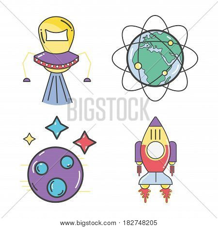 UFOs and geostationary orbital in earth planet with rocket, vector illustration