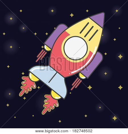 rocket in the galaxy space exploring the universe, vector illustration