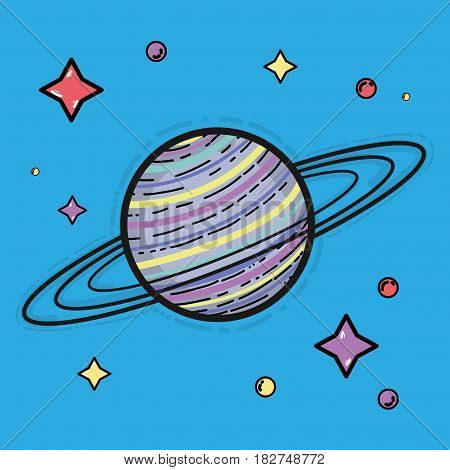 saturn planet in the space galaxy creation, vector illustration