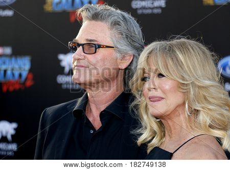Kurt Russell and Goldie Hawn at the Los Angeles premiere of 'Guardians Of The Galaxy Vol. 2' held at the Dolby Theatre in Hollywood, USA on April 19, 2017.