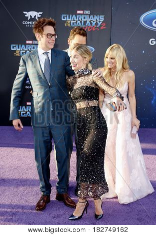 James Gunn, Chris Pratt, Anna Faris and Jennifer Holland at the Los Angeles premiere of 'Guardians Of The Galaxy Vol. 2' held at the Dolby Theatre in Hollywood, USA on April 19, 2017.