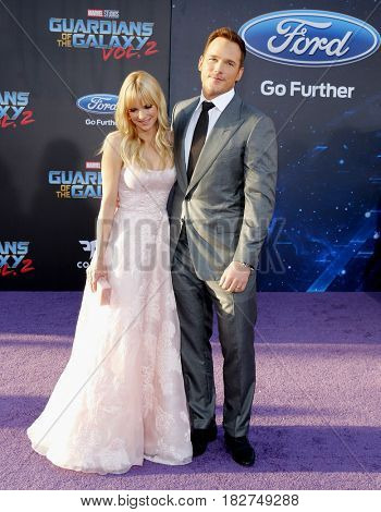 Chris Pratt and Anna Faris at the Los Angeles premiere of 'Guardians Of The Galaxy Vol. 2' held at the Dolby Theatre in Hollywood, USA on April 19, 2017.