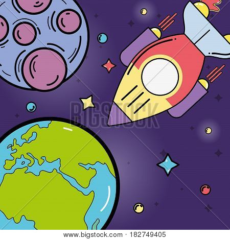 stars, planets and rocket in the space galaxy, vector illustration